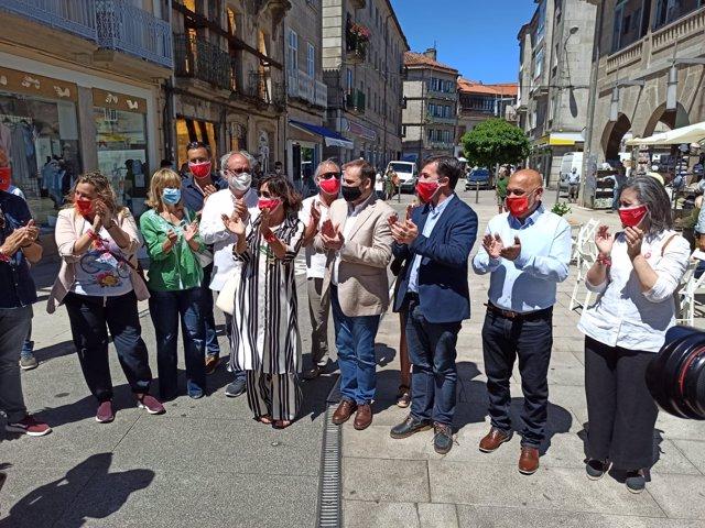 El ministro de Transportes, José Luis Ábalos, arropa en Pontevera la candidatura del candidato del PSdeG a la Xunta, Gonzalo Caballero
