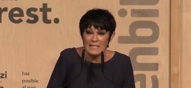 La candidata a lehendakari por EH Bildu, Maddalen Iriarte, en el mitin de cierre de campaña