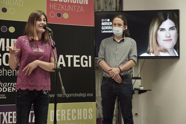 La candidata a lehendakari de Elkarrekin Podemos-IU, Miren Gorrotxategi, interviene en un acto de campaña en la sede de Podemos Euskadi (Goienkalea Kalea, 13), Durango, Vizcaya, Bilbao, (País Vasco), a 10 de julio de 2020.