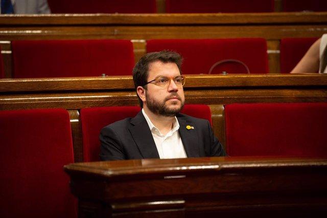 El vicepresident de la Generalitat, Pere Aragonès, en el Parlament, en una imatge d'arxiu