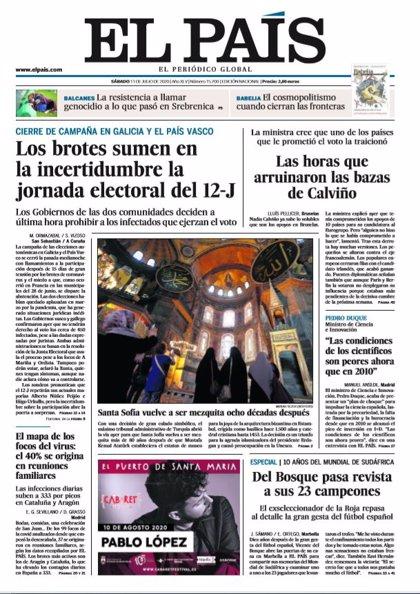 Las portadas de los periódicos del sábado 11 de julio de 2020