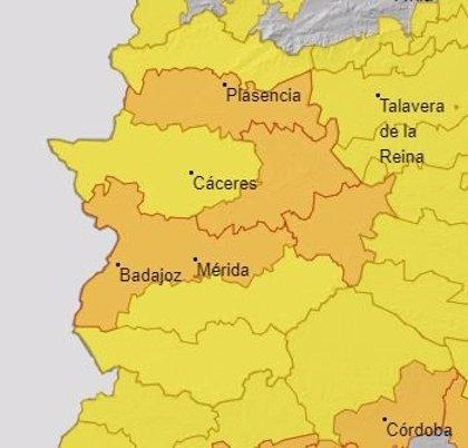 Varias comarcas de Extremadura activan este sábado la alerta naranja por altas temperaturas de hasta 42 grados
