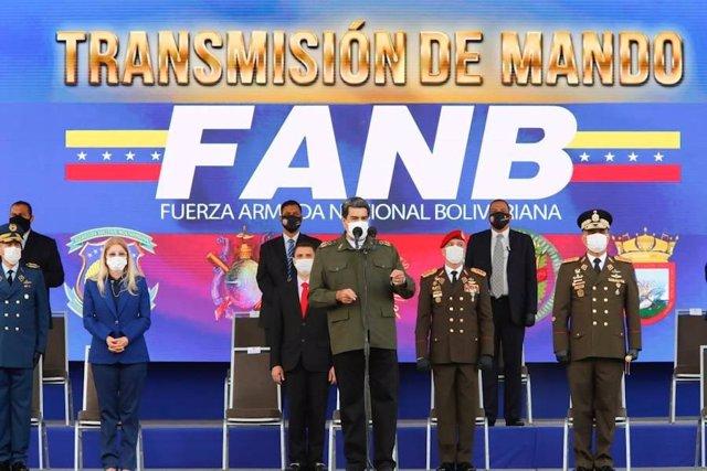 El presidente de Venezuela, Nicolás Maduro, durante un acto militar