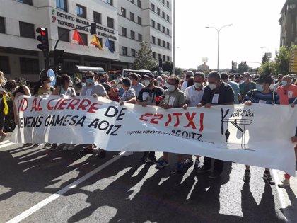 """Manifestación contra el cierre de Siemens-Gamesa en Aoiz y para pedir la """"implicación"""" del Gobierno foral"""