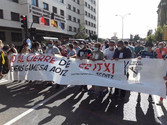 Manifestación en Pamplona contra el cierre de Siemens-Gamesa en Aoiz.