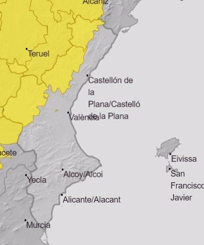 El interior de Castellón y Valencia está en aviso amarillo por tormentas, que pueden ir acompañadas de granizo