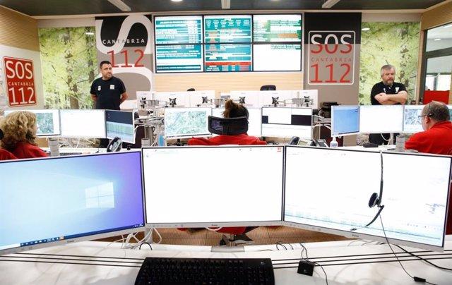 Sala del centro de atención de emergencias 112 Cantabria