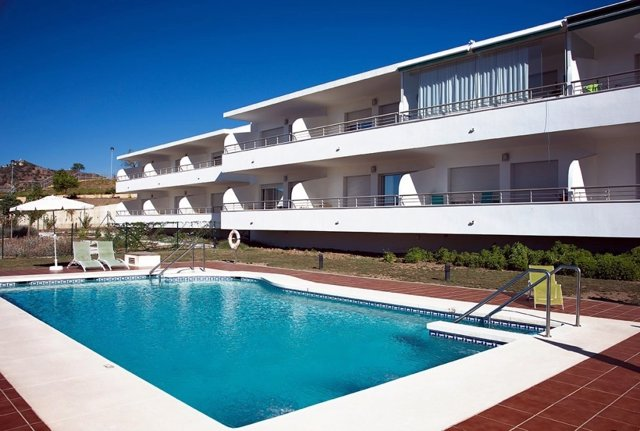 Vista del residencial Puerto de la Luz de Málaga capital, un modelo de senior cohousing, viviendas compartidas para mayores.