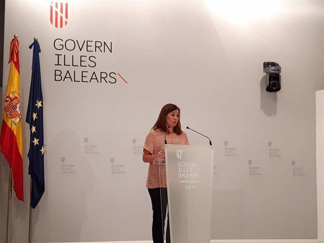 La presidenta del Govern, Francina Armengol, en rueda de prensa.