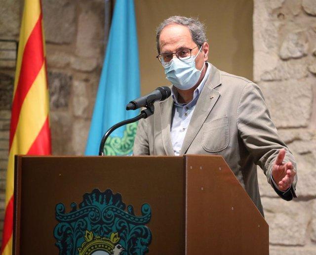 El president de la Generalitat, Quim Torra, en un acte el dissabte