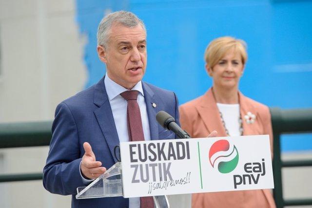 El lehendakari, Iñigo Urkullu, en un acte electoral en Hernani