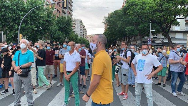 Uns 300 concentrats a Lleida contra el confinament de diversos municipis
