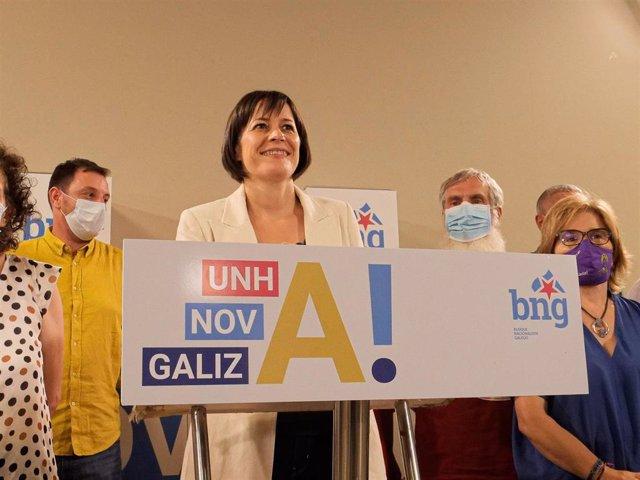 La portavoz nacional del BNG y candidata a la Xunta, Ana Pontón, ofrece una rueda de prensa, durante la noche electoral del 12J para valorar los resulados