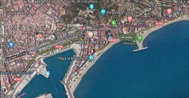Localización de la playa de la Malagueta