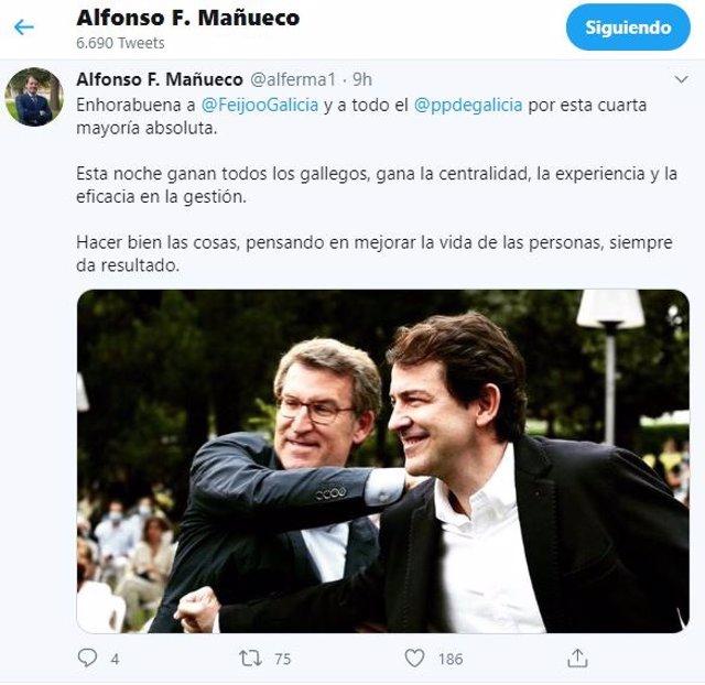 Tuit de Fernández Mañueco en el que felicita a Feijoo.