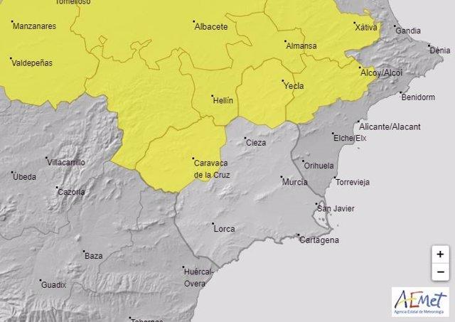 Mapa que muestra las comarcas con aviso de nivel amarillo