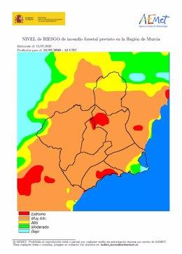 Mapa que muestra el riesgo de incendios forestales