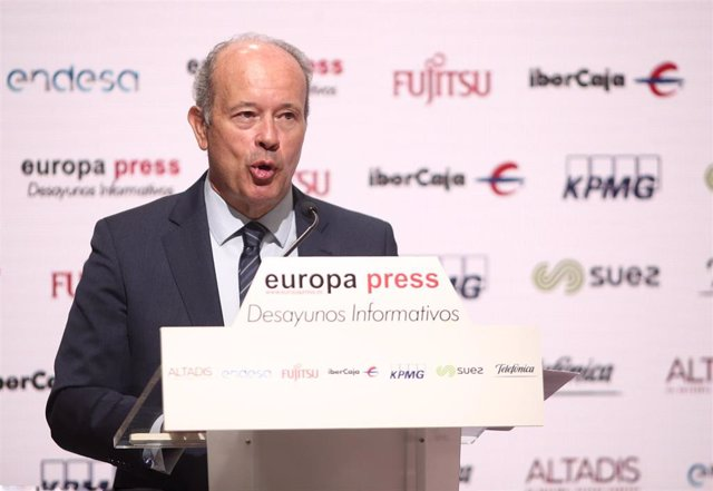 El ministro de Justicia, Juan Carlos Campo, durante uno de los Desayunos Informativos de Europa Press, en Madrid, (España), a 13 de julio de 2020.