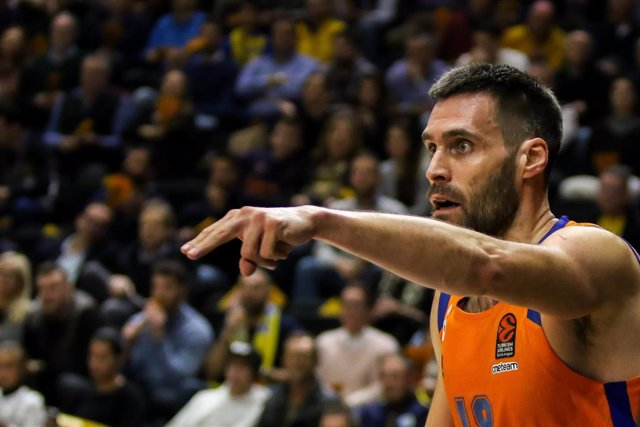 Fernando San Emeterio of Valencia Basket in action during Euroleague Turkish Airlines  Regular Season Round 25 match between. Valencia Basket and Maccabi Tel Avi  played at  Fuente de San Luis Pavilion. In Valencia, Espain. february 21, 2020.