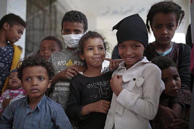 Niños yemeníes en Saná durante la pandemia de coronavirus