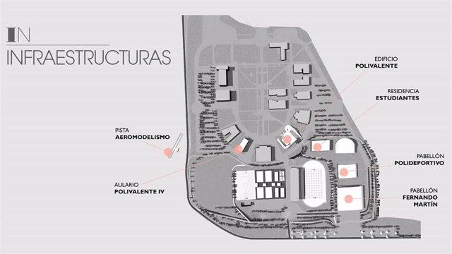 Imagen del plano para crear un gran campus del deporte en la localidad de Fuenlabrada.