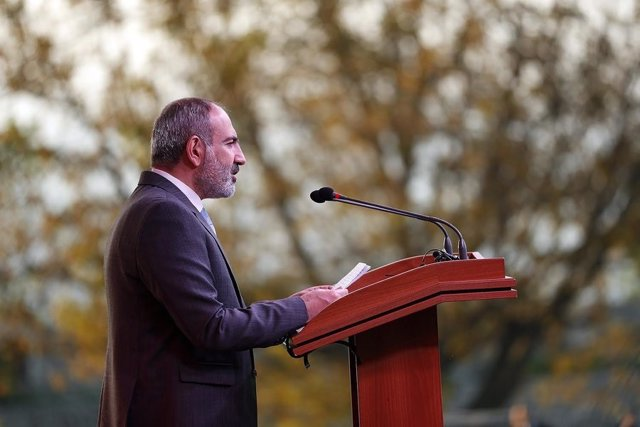 El primer ministro de Armenia, Nikol Pashinian, en un discurso en Ereván