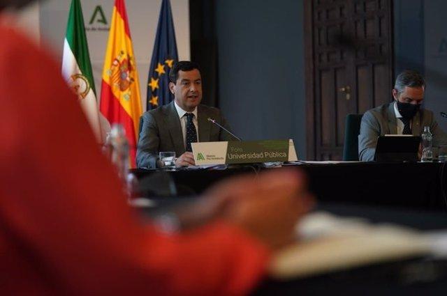 El presidente de la Junta de Andalucía, Juanma Moreno, durante su intervención