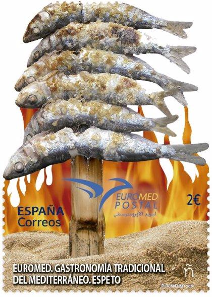 Correos emite un sello dedicado al espeto en representación de la gastronomía tradicional del Mediterráneo