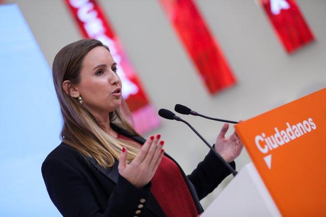 La portavoz de la gestora de Ciudadanos, Melisa Rodríguez, ofrece una rueda de prensa tras la reunión de la Comisión Gestora de Ciudadanos en la sede nacional del partido, en Madrid a 20 de enero de 2020.