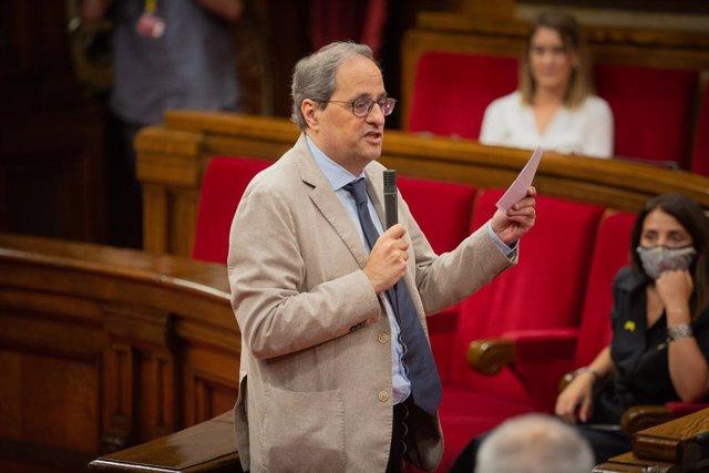 El president de la Generalitat, Quim Torra, intervé al Parlament en la segona sessió plenària monogràfica sobre la gestió de les residències durant la pandèmia. Barcelona, Catalunya (Espanya), 8 de juliol del 2020.