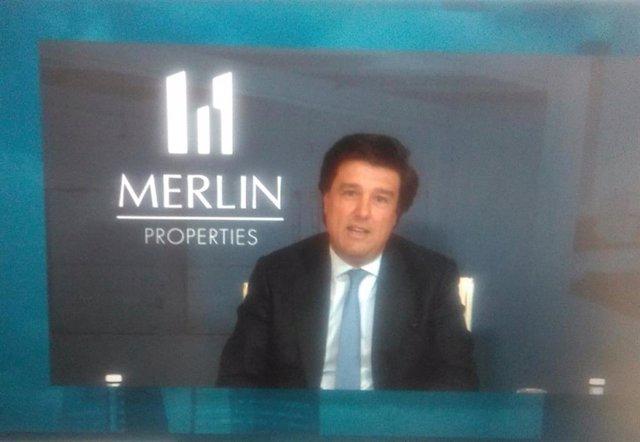 El consejero delegado de Merlin Properties, Ismael Clemente, interviene en la junta de accionistas de la socimi de 2020, celebrada de forma telemática