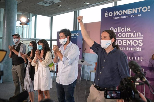 El secretario general de Podemos y vicepresidente segundo del Gobierno, Pablo Iglesias, durante la campaña de las elecciones gallegas