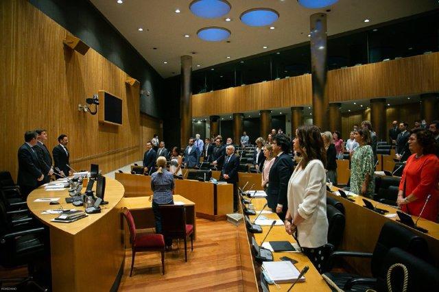 Los diputados de la Comisión para la Reconstrucción Social y Económica guardan un minuto de silencio por los fallecidos por Covid-19 durante la reunión para debatir y votar las conclusiones finales, cuyos borradores ya han sido aprobados, con enmiendas, p