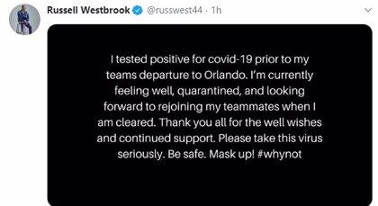 Russell Westbrook, positivo por coronavirus