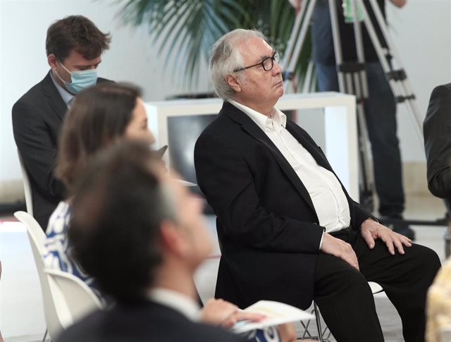 El ministro de Universidades, Manuel Castells, el pasado 9 de julio en la presentación del Plan para reforzar el sistema de Ciencia, Tecnología e Innovación, en Moncloa.