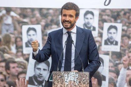 """Casado llama a reflexionar porque es """"dramático"""" que Bildu tenga más apoyos que PSE, Podemos, PP y Cs juntos"""