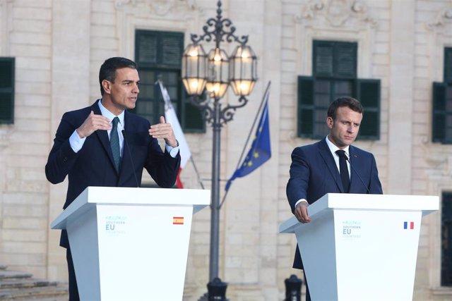 Pedro Sánchez y Emmanuelle Macron en una imagen de archivo