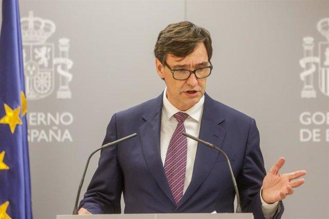 El ministro de Sanidad, Salvador Illa, interviene en una rueda de prensa en el Ministerio de Sanidad, en Madrid (España), a 13 de julio de 2020.