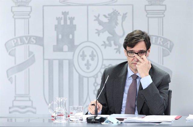 El ministre de Sanitat, Salvador Illa, compareix en la roda de premsa posterior al Consell de Ministres. Madrid (Espanya), 14 de juliol del 2020.