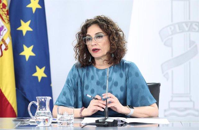 La ministra portaveu, María Jesús Montero, compareix en conferència de premsa posterior al Consell de Ministres. Madrid (Espanya), 14 de juliol del 2020.