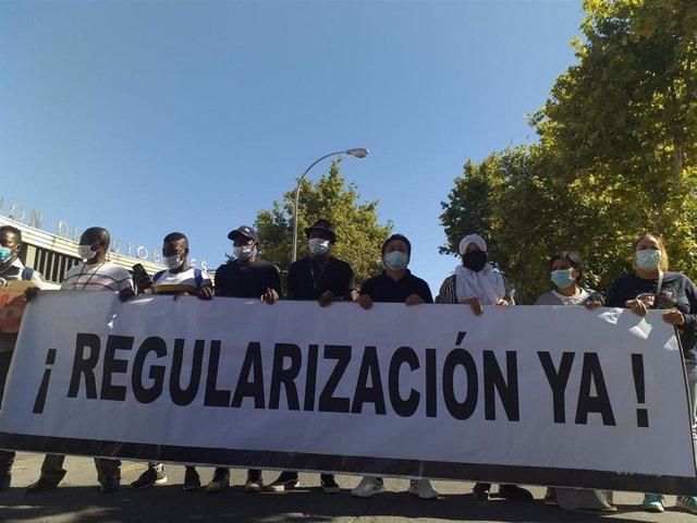 Manifestación de temporeros en la provincia de Huelva.