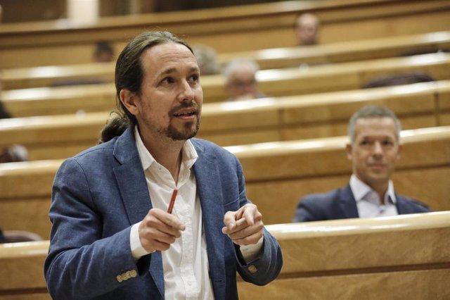El vicepresidente segundo del Gobierno y Ministro de Derechos Sociales y Agenda 2030, Pablo Iglesias, en el Senado