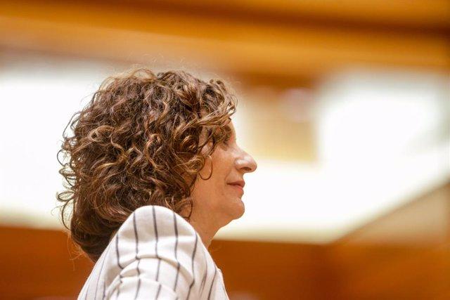 La Ministra d'Hisenda i portaveu del Govern, María Jesús Montero, durant el ple en el Senat. A Madrid (Espanya), a 2 de juny de 2020.