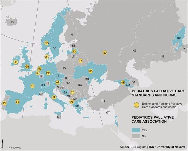 Infografía con los servicios especializados de cuidados paliativos pediátricos en Europa