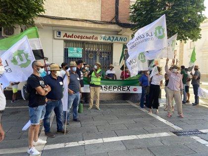 """Agricultores extremeños se concentran ante la Asamblea contra los """"incumplimientos"""" de Vara con este sector"""