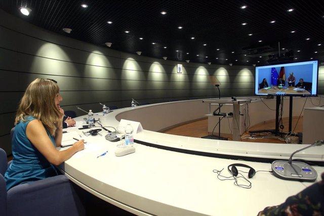 Videoconferencia entre la ministra de Trabajo y Economía Social, Yolanda Díaz, y su homólogo alemán, Hubertus Heil.