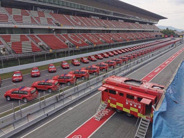 Presentación de 90 vehículos nuevos para el cuerpo de Bombers de la Generalitat, en el Circuit de Catalunya de Montmeló (Barcelona), el 14 de julio de 2020.