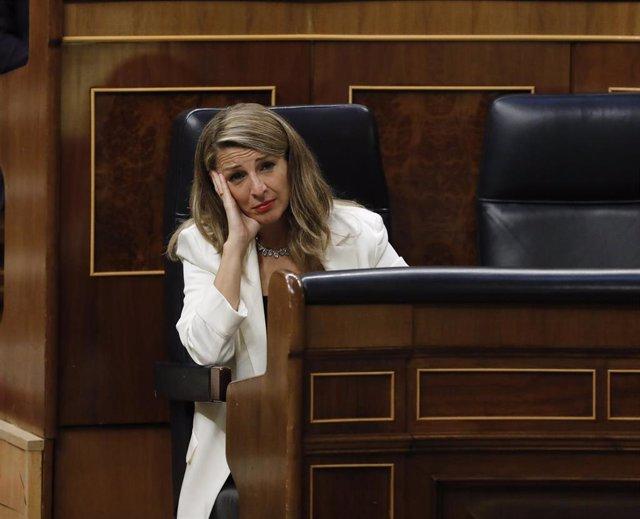 La ministra de Trabajo, Yolanda Díaz, en un Pleno del Congreso