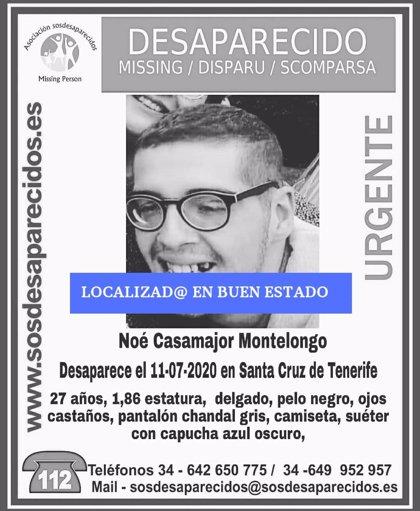 Localizan en buen estado al joven de 27 años desaparecido hace tres días en Santa Cruz de Tenerife