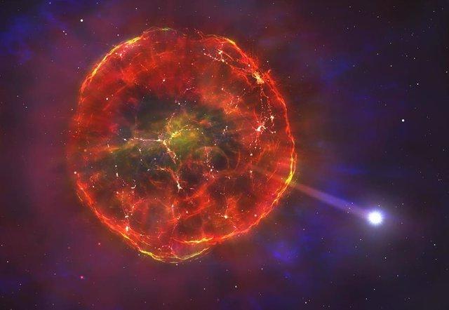 Ilustración del material expulsado por la supernova